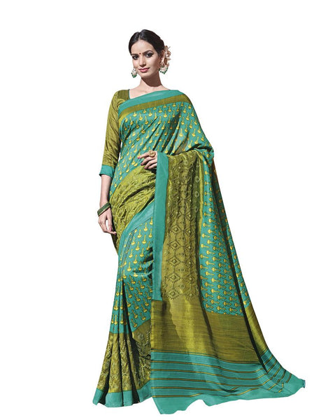 Green Printed Soft Embroidered Thappa Silk Saree SC30233