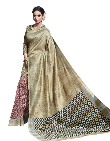 Beige Printed Soft Embroidered Thappa Silk Saree SC30244
