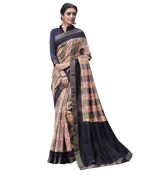 Designer Grey Blue Printed Lacer Border Art Silk Saree SC30327 - Ethnic's By Anvi Creations