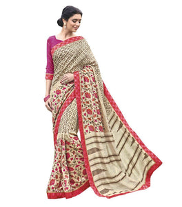 Designer Cream Printed Lacer Border Art Silk Saree SC30338 - Ethnic's By Anvi Creations