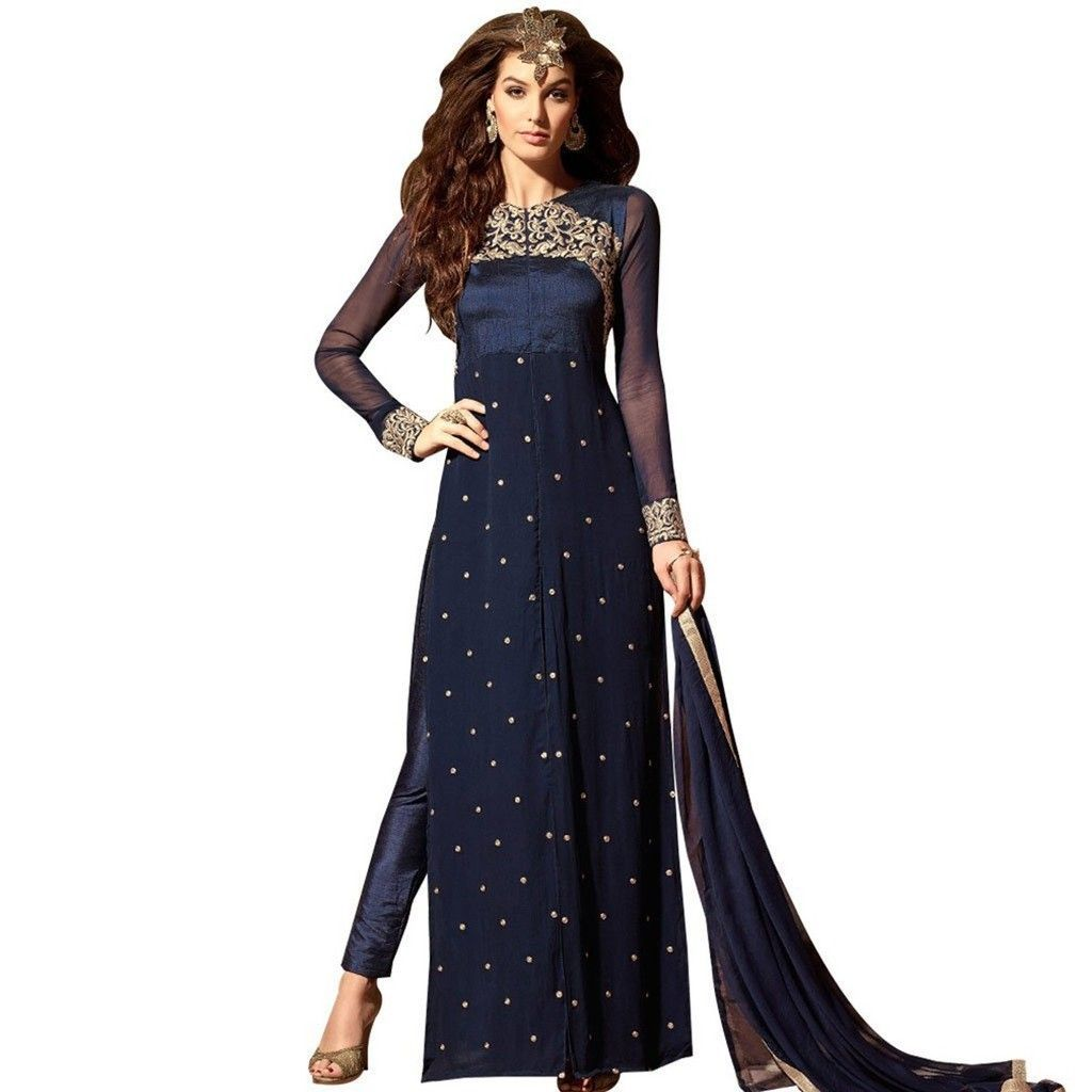Dark Blue Embroidered Georgette Trouser Style Dress Material M3103 - Ethnic's By Anvi Creations