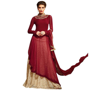 Maroon Cream Semi Stitched kurta and Lehenga Set Dress Material M3109 - Ethnic's By Anvi Creations