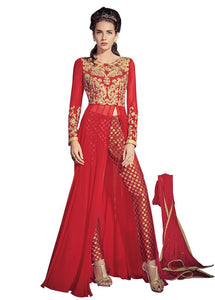 Red Georgette Long Semi stitch Anarkali Partywear Dress material Rossa4004 - Ethnic's By Anvi Creations