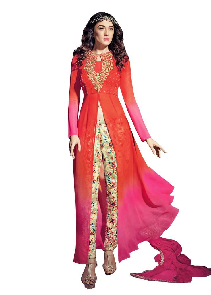 Orange and Pink Georgette Long Semi stitch Anarkali Partywear Dress material Rossa4009 - Ethnic's By Anvi Creations