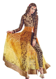 Yellow and Brown Brasso Long semi stitch Anarkali Partywear Dress material Rossa4011 - Ethnic's By Anvi Creations