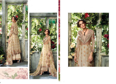 Designer Beige Kora Silk Printed Dress Material with Chiffon Dupatta GAN25 - Ethnic's By Anvi Creations