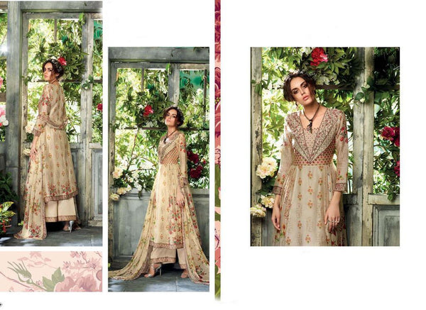 Designer Beige Kora Silk Printed Dress Material with Chiffon Dupatta GAN25