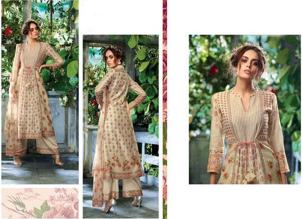 Designer Beige Kora Silk Printed Dress Material with Chiffon Dupatta GAN30