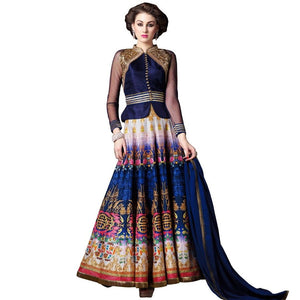 Semi Stitched Indo Western Fusion Wear Long Dress Material V4704 - Ethnic's By Anvi Creations