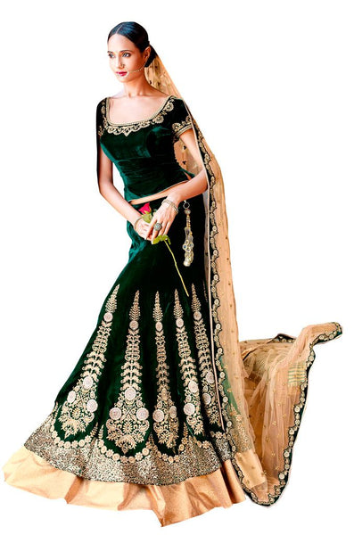 Heavy Wedding  Velvet Green  Lehenga Choli SC5050