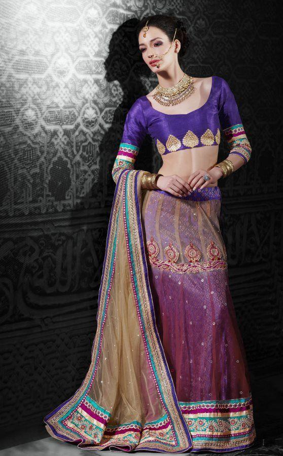 Beige Pink Net Lehenga Choli Dupatta Fabric Only LC506 - Ethnic's By Anvi Creations