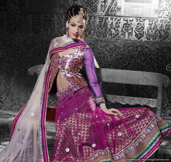 Purple Off White Net Lehenga Choli Dupatta Fabric Only LC507
