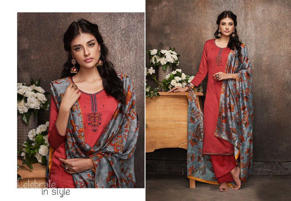 Designer Red Pashmina Winter Dress Material with Printed Chanderi Dupatta GAN52 - Ethnic's By Anvi Creations
