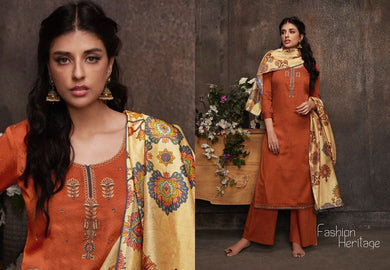 Designer Orange Pashmina Winter Dress Material with Printed Chanderi Dupatta GAN54 - Ethnic's By Anvi Creations