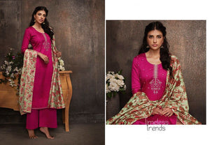 Designer Pink Pashmina Winter Dress Material with Printed Chanderi Dupatta GAN55 - Ethnic's By Anvi Creations