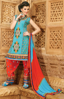 Turquoise Blue Cotton Patiala Embroidered Dress Material PAT5603