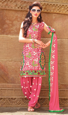 Pink Cotton Patiala Embroidered Dress Material PAT5609