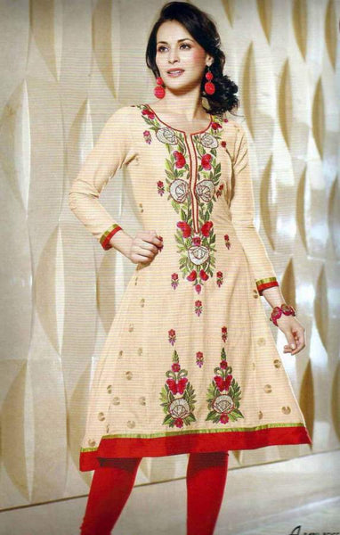 Designer Exclusive Embroidered Light brown Cotton Kurti Tunic Top Size M SC6007