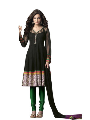 Black Green Embroidered Net Crepe Stitched  Salwar kameez Churidar SC602 - Ethnic's By Anvi Creations