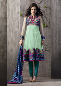 Light Green Embroidered Net Crepe Stitched  Salwar kameez Churidar SC610 - Ethnic's By Anvi Creations