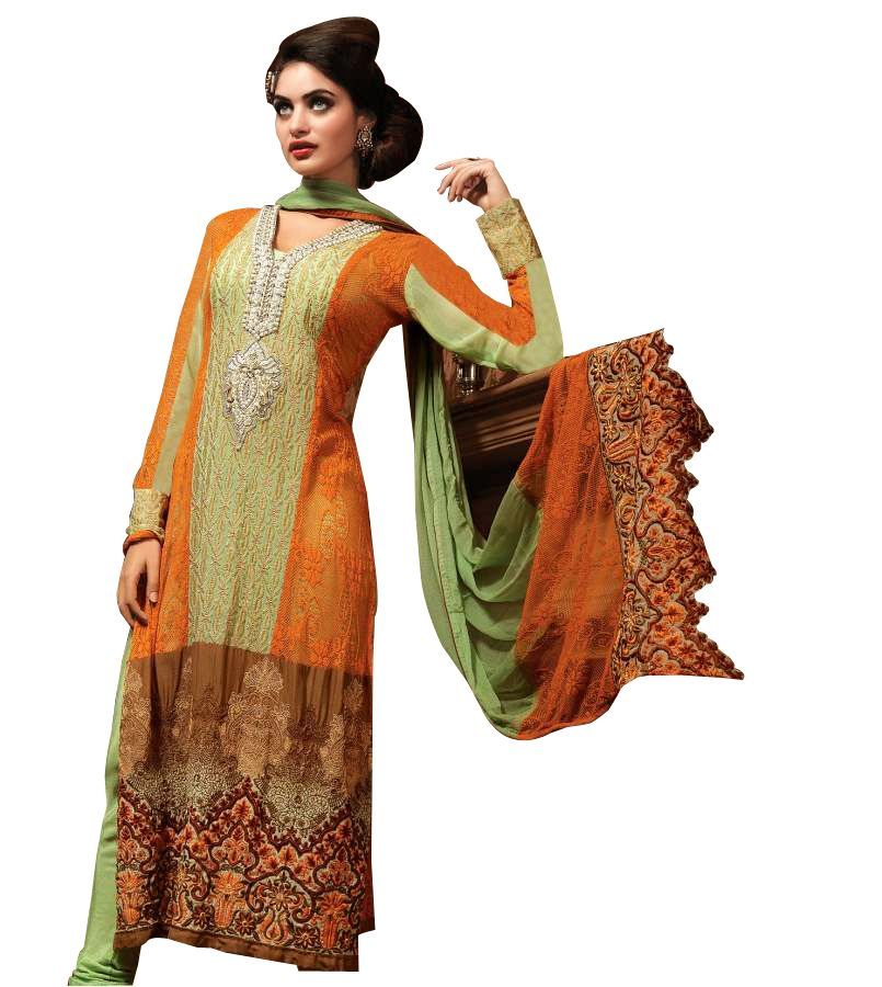 Green Orange Pure Georgette with net Jequard Embroidered Salwar kameez Churidar Dress Material SC6124 - Ethnic's By Anvi Creations