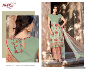 Heer Olive and Onion Pink Pure Cotton Embroidered Dress Material SC6215 - Ethnic's By Anvi Creations