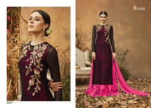 Load image into Gallery viewer, Designer Semi Stitched Pink Black Georgette Embroidered Gown Style Dress Material RM6605 - Ethnic's By Anvi Creations
