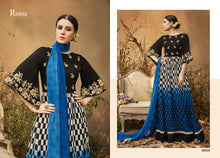 Charger l'image dans la galerie, Designer Semi Stitched Blue Black Georgette Embroidered Gown Dress Material RM6609 - Ethnic's By Anvi Creations