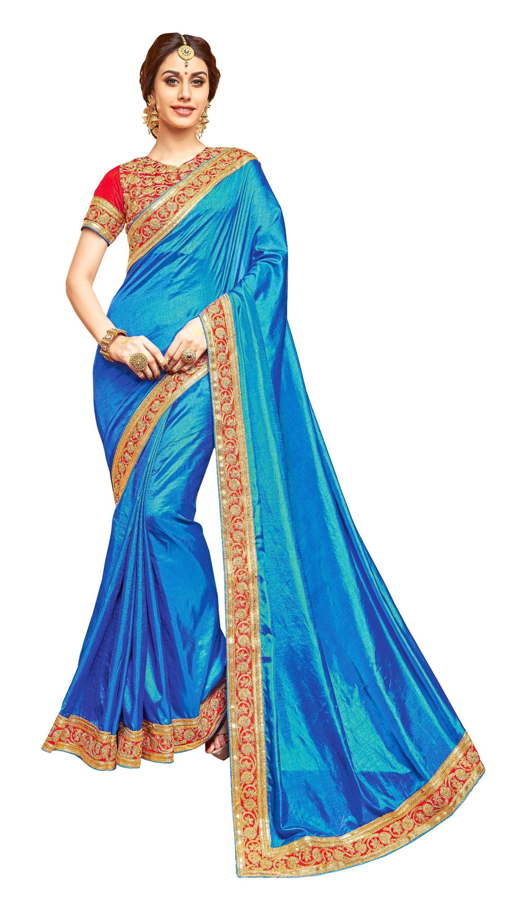 Desiger Dupion Indian Art Silk Blue Border Work Saree SC7056 - Ethnic's By Anvi Creations