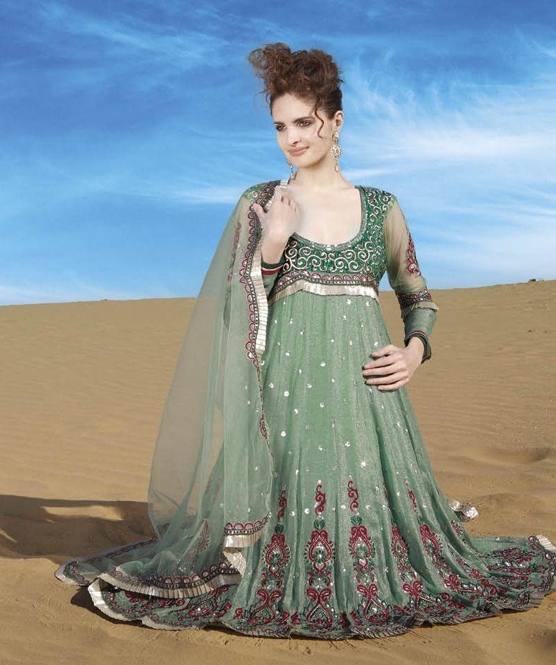 Light Green Embroidered Anarkali Dress Material SC7197B - Ethnic's By Anvi Creations