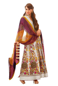Long Floor Length Semi Stitched Embroidered Anarkali Dress Material - Ethnic's By Anvi Creations