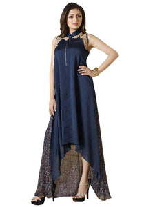 Designer Blue Chanderi Chiffon Kurti Kurta Dress Size XL SCLT901 - Ethnic's By Anvi Creations