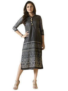 Designer Gray Rayon Kurti Kurta Dress Size XL SCLT913 - Ethnic's By Anvi Creations