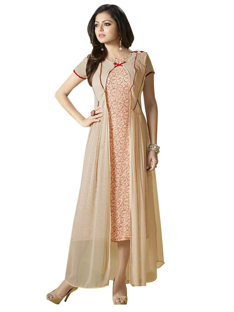 Designer Beige Georgette Kurti Kurta Dress Size XL SCLT914 - Ethnic's By Anvi Creations