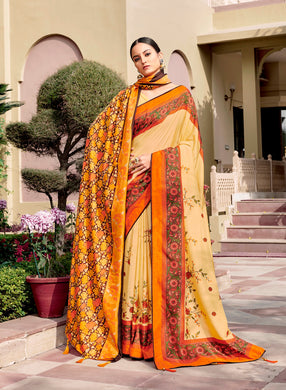 Digital Printed Light Yellow Dola Silk Saree with Shawl AAS41