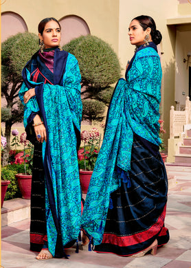 Digital Printed Navy Blue Dola Silk Saree with Shawl AAS42