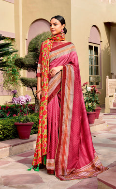 Digital Printed Onion Pink Dola Silk Saree with Shawl AAS43