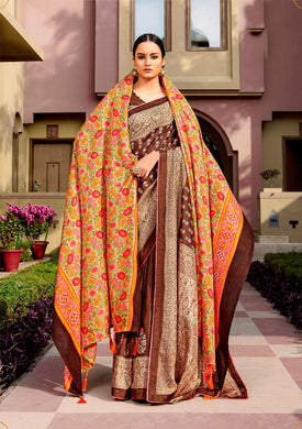 Digital Printed Brown Dola Silk Saree with Shawl AAS44