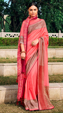 Digital Printed Carrot Pink Dola Silk Saree with Shawl AAS45