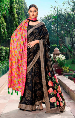 Digital Printed Black Dola Silk Saree with Shawl AAS46