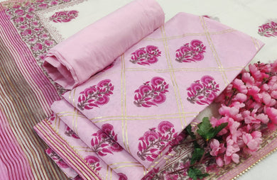 Exclusive Gotta Patti work Pink Chanderi Silk Dress Material AACH13