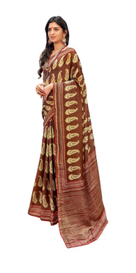 Digital Printed Brown Dola Silk Saree with Shawl AAS75 - Ethnic's By Anvi Creations