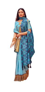 Digital Printed Light Blue Dola Silk Saree with Shawl AAS76 - Ethnic's By Anvi Creations
