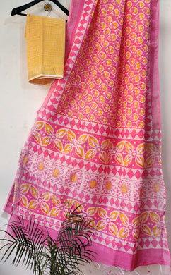 Exclusive Pink Slub Cotton Linen Hand Block Printed Saree AASL01