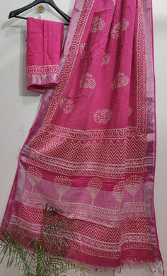 Exclusive Pink Slub Cotton Linen Hand Block Printed Saree AASL05