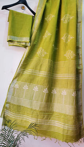 Exclusive Green Slub Cotton Linen Hand Block Printed Saree AASL08
