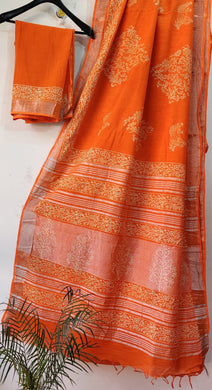 Exclusive Orange Slub Cotton Linen Hand Block Printed Saree AASL11