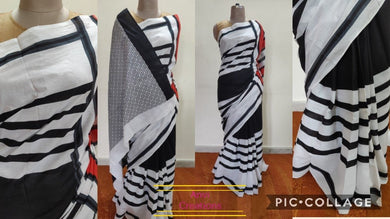 Exclusive Black White Striped Hand Block Printed Mulmul Cotton saree AA10 - Ethnic's By Anvi Creations