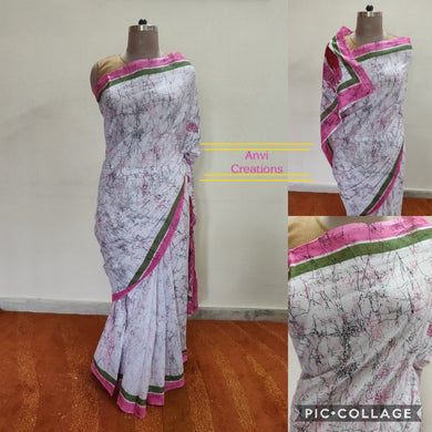 Exclusive Off white Pink Batik Hand Block Printed Mulmul Cotton saree AA11 - Ethnic's By Anvi Creations