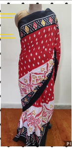 Exclusive Red Black Batik Hand Block Printed Mulmul Cotton saree AA12 - Ethnic's By Anvi Creations